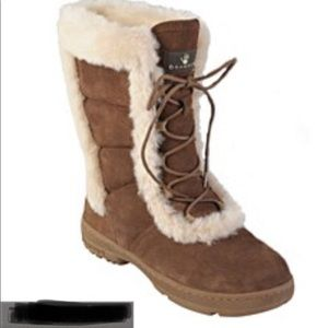 Bearpaw Alyssia Suede Sheepskin-trim Lace-up Boots